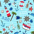 Nautical Seamless Pattern In Retro Style Stock Photography - 39982082