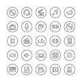 Sound And Video Thin Line Icons Set Royalty Free Stock Photography - 39984097