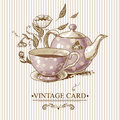 Vintage Card With Cup, Pot, Flowers And Butterfly Stock Images - 39986564