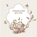 Invitation Vintage Card With Cup, Pot And Flowers Royalty Free Stock Photos - 39988328
