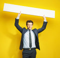 Young Cheerful Gentleman With Board Stock Image - 39997241