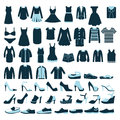 Mens And Women Clothes And Shoes Icons - Illustrat Royalty Free Stock Photos - 39997828