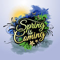 Spring Is Coming Vector Inscription Royalty Free Stock Images - 40007559