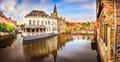 Panoramic View Of Famous Water Canal In Bruges Stock Image - 40013861