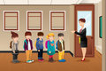 Teacher Lining Up The Students Stock Images - 40014704