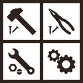 Pliers, Hammer, Wrench And Gears Icons Royalty Free Stock Photo - 40024645