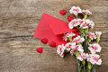 Pink Carnations, Hearts And Red Envelope Stock Image - 40029451
