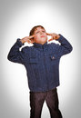 Gray Teenager Boy Baby Covered His Ears Screaming And Closed Eye Stock Image - 40034781
