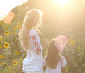 Cheerful Mother And Her Daughter In Summer Evening Stock Image - 40037691