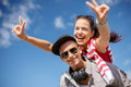 Smiling Teenagers In Sunglasses Having Fun Outside Stock Image - 40040441