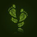 Go Green Eco Pattern In Foot Silhouette Royalty Free Stock Photos - 40040728
