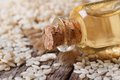 Sesame Seed Oil In A Glass Bottle With A Cork Stock Photography - 40045252