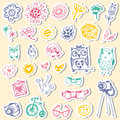 Set Of Stickers With Owls And Fashionable Things. Royalty Free Stock Photo - 40054005