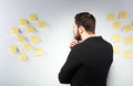 Man Standing Next To A Wall With Postits Royalty Free Stock Image - 40073056