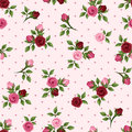 Vintage Seamless Pattern With Red And Pink Roses. Vector Illustration. Royalty Free Stock Photos - 40077218