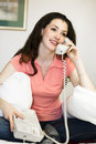 Girl With Telephone Royalty Free Stock Image - 4012156