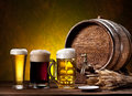 Beer Glasses, Old Oak Barrel And Wheat Ears. Royalty Free Stock Photos - 40102118