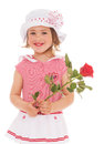 Charming Little Girl With Red Rose Flower Royalty Free Stock Image - 40104646