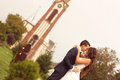 Lovely Bride And Groom In Front Of Church Stock Photos - 40107753