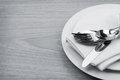Silverware Or Flatware Set Of Fork, Spoons And Knife On Plate Stock Photo - 40121370