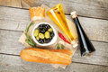 Italian Food Appetizer Of Olives, Bread And Spices Royalty Free Stock Photos - 40121388