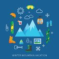 Winter Vacation Flat Vector Icon Set Stock Photo - 40122580
