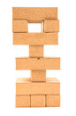 Jenga Tower With Missing Pieces On A White Royalty Free Stock Image - 40132306