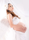 Asian Pregnant Woman With Angel Wings Stock Photos - 40142343