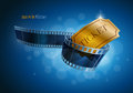 Camera Film Strip And Gold Ticket. Royalty Free Stock Images - 40142699