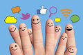 Happy Finger Smileys With Social Network Sign. Stock Image - 40155891