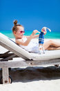 Little Girl With Toy At Beach Stock Images - 40163444