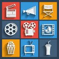 Set Of 9 Cinema Web And Mobile Icons. Vector. Stock Photography - 40166072