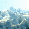 Square Illustration Of Flock, Blue Sky And Clouds. Royalty Free Stock Images - 40166349