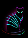 Neon Cat Royalty Free Stock Photos - 40169808