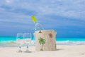 Bottle Of White Wine And Two Glasses On The Exotic Sandy Beach Stock Image - 40178281