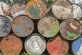 Empty Oil Barrels, Rusty And Weathered Royalty Free Stock Photos - 40187178
