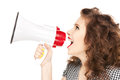 Woman With Megaphone Stock Image - 40188901