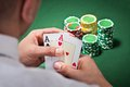 Man With Ace Cards Playing Poker Royalty Free Stock Photo - 40191185
