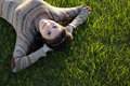 Smiling Woman Lying On Green Grass Stock Images - 40191564