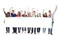 Successful College Students Displaying Blank Billboard Royalty Free Stock Photo - 40195095