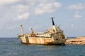 Ship Wreck EDRO III In Cyprus Under Palms Royalty Free Stock Photos - 40197708