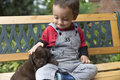 Adorable Baby And His Dog Stock Photos - 40202563
