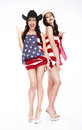 Happy Girls In Hats And American Flag Posing Stock Photos - 40207893