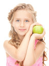 Little Girl With Green Apple Royalty Free Stock Photography - 40220777