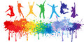 Colorful Bright Ink Splashes And Kids Jumping Stock Images - 40222184
