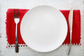 White Plate With Fork And Knife Stock Photos - 40234283