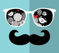 Retro Sunglasses With Reflection For Hipster. Royalty Free Stock Photos - 40239098