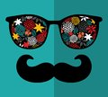 Retro Sunglasses With Reflection For Hipster. Royalty Free Stock Photos - 40240418
