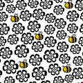Seamless Floral Pattern With Cartoon Bee. Royalty Free Stock Photo - 40244315