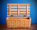 Picnic Basket Open And Empty Stock Photos - 40246293